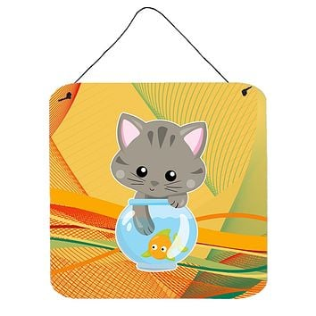 Kitten in the Fish Bowl Wall or Door Hanging Prints BB6879DS66