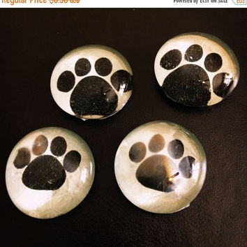 On Sale Set of 4 Doggy Paw Print Glass Refridgerator Magnets