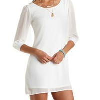 Strappy-Back Chiffon Shift Dress by Charlotte Russe - Ivory