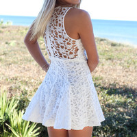 Tallahassee White Sleeveless Crochet Dress