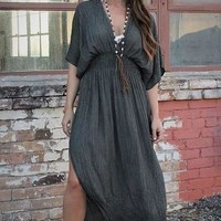 Long Charcoal Maxi Dress - Western Bohemian Victorian Vintage