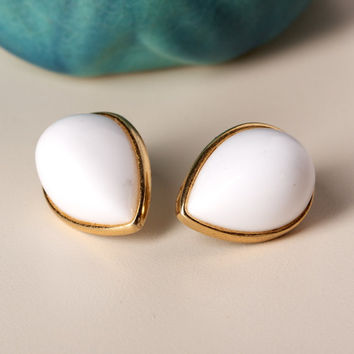 Napier White Teardrop Shape Lucite Post Earrings