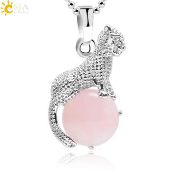 CSJA 2018 New Arrival Natural Stone Copper Animal Leopard Pendants Necklace Charm Jewelry for Women Girls Christmas Gift E960