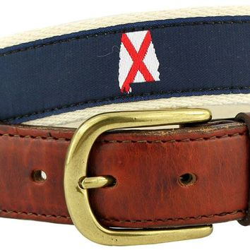 AL Traditional Leather Tab Belt in Navy Ribbon with White Canvas Backing by State Traditions