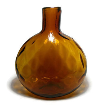 Vintage Amber Colored Glass Flat Round Bottle - Faceted Diamonds Pattern Orange Brown Flattened Oval Display Bottle Bud Vase - Autumn Color