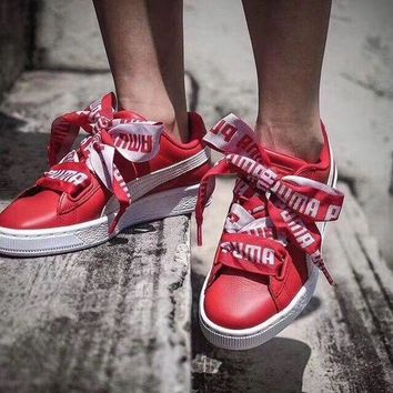 Puma Suede Basket Bow Women Running Sneakers Sport Shoes-1