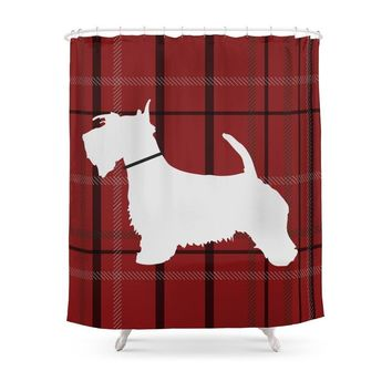 Scottish Terrier With Plaid Patterns Shower Curtains Hooks Included