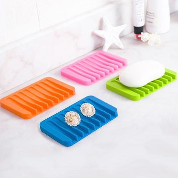 Creative Colorful Silicone Flexible Soap Dish Soapbox Storage Holder Gadget Plate Tray Kitchen Tools Jewelry Stand Bathroom Tool
