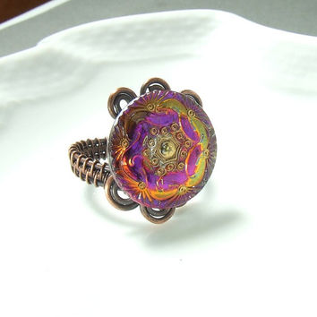Purple yellow floral ring, glass button ring, statement ring, wire wrapped adjustable copper jewelry between size 7 and 9
