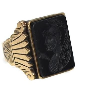 1950s Men's 10k Roman Soldier Onyx Ring Heavy Gold Setting Vintage