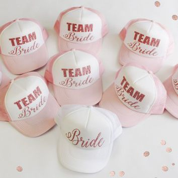 Bridal party ROSE GOLD GLITTER Hats, Bridesmaid Gift, Wedding party, Bachelorette party, Bridesmaid weekend, Bridesmaid trip, Group party