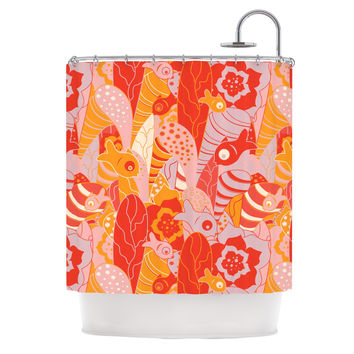 """Akwaflorell """"Fishes Here, Fishes There"""" Orange Red Shower Curtain"""