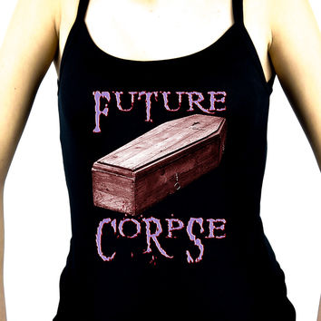 Future Corpse w/ Coffin Women's Spaghetti Strap Shirt Deathrock Clothing
