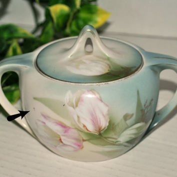 Antique R.S. Prussia Covered Sugar Bowl Art Nouveau Tulips, Blue Wreath and Star Mark Germany Green Blue
