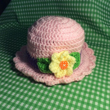 Baby photo prop hat, baby's first Easter, Easter bonnet, hand crochet, gift idea, baby shower gift, handmade, pink sun hat, beach hat,