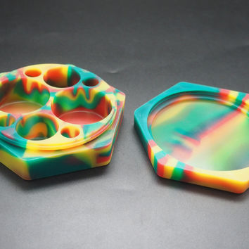 Large Hex Split Silicone Stash Container