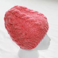 Beanie Hat - Cable Knit Hat - Bartlett Wool Tangerine Heather - Womens Med/Lg - Winter Accessories