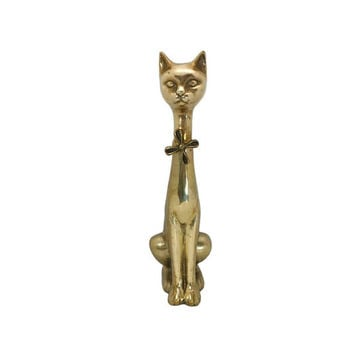 "Brass Cat Figurine 19.5"" Tall Long Neck Bow Tie Gold MCM Hollywood Regency Kitsch Siamese Feline Statue Solid Statement Piece"