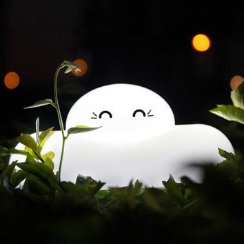 Cute Cloud Shaped Touch Sensor LED Night Light USB Rechargeable Bedside Lamp Baby Room Outdoor Living Room Night Light