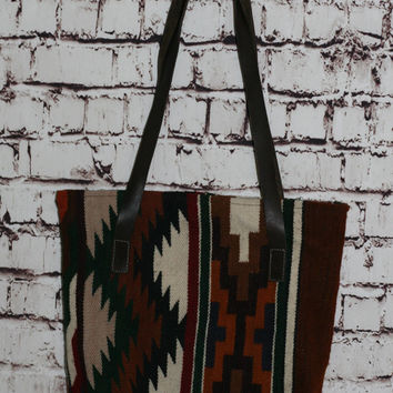 40% OFF Kilim Purse Leather Tote Soutwest Carapet tapestry tote bag market grunge hipster boho gypsy festival 70s 80s 90s