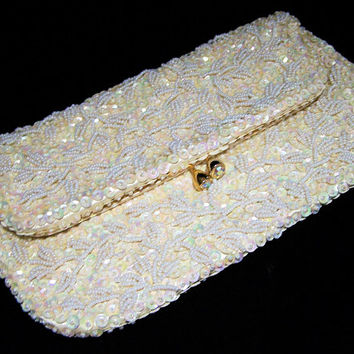 Beaded Bridal Clutch Purse, White Glass Seed Beads, Opalescent Sequins, AB Rhinestone Clasp, Mid Century Evening Bag 1217