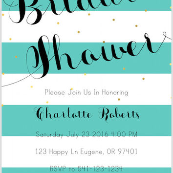 Mint Green Striped Bridal Shower Invitation with Gold Sparkles PDF Download