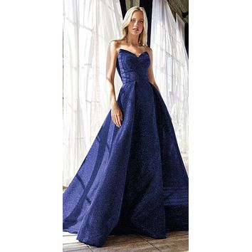 Long Strapless Ball Gown Royal Blue Glitter Finish Lace Up Corset Back