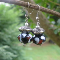 Black and Red Lampwork earrings