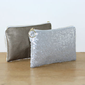 Gray Silver Sequin and Dark Gold Metallic Leather Clutch / Sparkly Bachelorette Favor / Fancy Bridesmaid Gift Bag - Almquist Design Studio