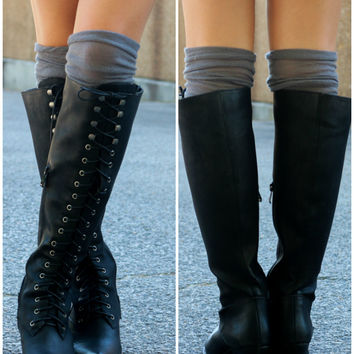 Very Volatile Clementine Black Lace Up Riding Boot With Low Heel