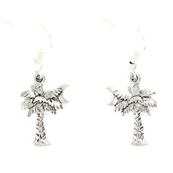Palm Tree Dangle Earrings Silver Tone Crescent Moon Charm EG27 Fashion Jewelry