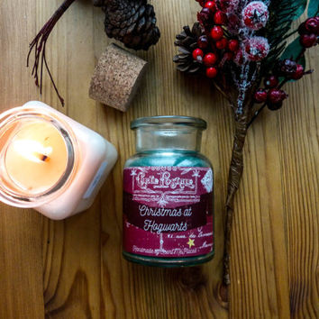 Book Soy Candle Christmas at Hogwarts Harry Potter themed, jar candle, scented soy candle, book lover gift, bookish candle, literary