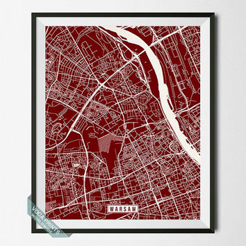 Warsaw Street Map, Poland Poster, Warsaw Print, Warsaw Map, Poland Print, Poland Map, Street Map, Home Decor, Wall Art