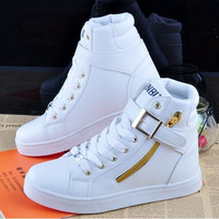 Women & Men's  Skater Boots Fashion Martin Boots Cotton Lining Material  ( Color :White& Black, Size 5-10) = 1930537604