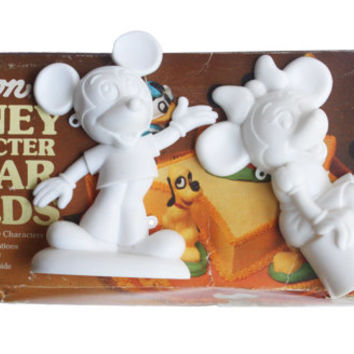 Vintage 70s Wilton Disney Character Sugar Molds |Cake Toppers Decorating Retro Kitchen, Walt Disney Mickey, Minnie Mouse, Donald Duck, Pluto