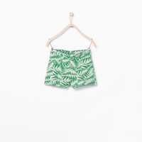 Jacquard leaf pattern shorts