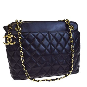 Auth CHANEL CC Logos Quilted Chain Shoulder Tote Bag Leather Black Italy 20EA478