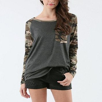 VLX2WL Camouflage Slim Patchwork With Pocket T-shirts [10467452308]