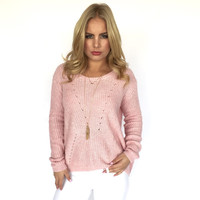 Sweetheart Knit Sweater In Pink