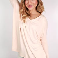 PIKO Loose Fit V-Neck Tee in Nude