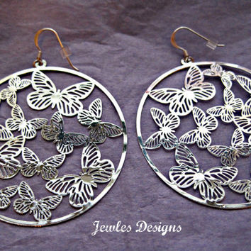 Butterfly hoop Earrings with sterling silver earring hooks, Earrings, Accessories, Women's Accessories,  by JewlesDesigns on Etsy