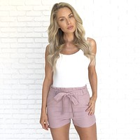 Perfect Timing Linen Shorts in Mauve