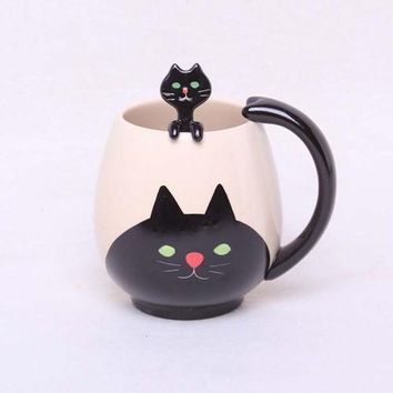 Mom Cat and Kitten Matching Ceramic Coffee Cup and Spoon