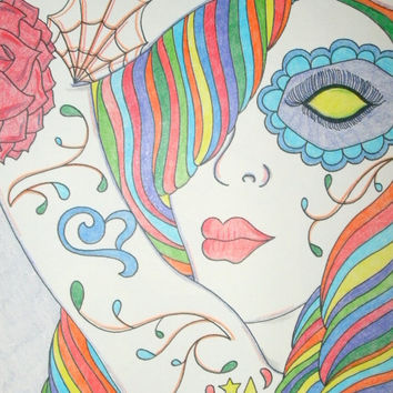 Original Sugar Skull Girl with Tattoos in Rainbow Colored Pencils 8x10 Drawing, Day of the Dead, Dia De Los Muertos, Alternative, Gift Idea