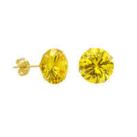 10k Yellow Gold Citrine CZ Stud Earrings Cubic Zirconia Round Prong Set