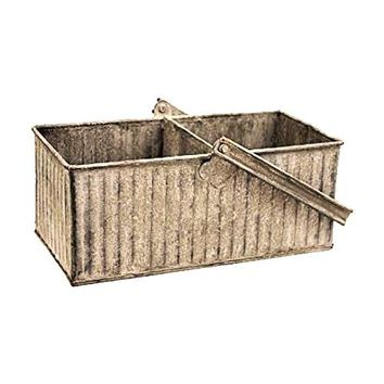 Galvanized Metal Berry Basket Caddy Divided to 2 with Handle