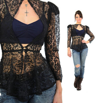 80s Goth Grunge sheer floral black lace top Medium