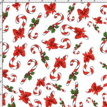 Candy Cane Crowd White Fabric