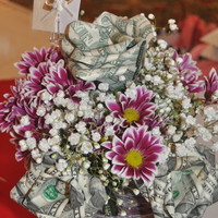 12 Money Roses, Made with real dollar bills! 84.00 dollar return! The perfect gift! Great for Weddings, Showers, Birthdays etc...