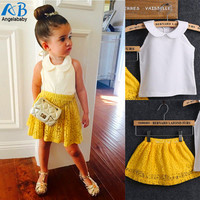 2016 Girls Sets Kid Baby Sleeveless Round Collar Top+Yellow Lace Skirts 2Pcs Suit Girls Outfits Princess girls clothing sets-in Clothing Sets from Mother & Kids on Aliexpress.com | Alibaba Group